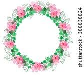 watercolor wreath of pink... | Shutterstock . vector #388838824