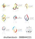 linear leaf abstract logo set ... | Shutterstock .eps vector #388844221
