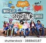 assistance support teamwork... | Shutterstock . vector #388860187