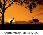 A Silhouette Of Emus And...