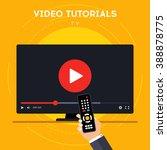 video tutorials on tv icon...   Shutterstock .eps vector #388878775