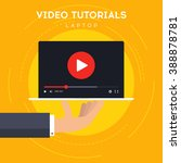 video tutorials on laptop icon... | Shutterstock .eps vector #388878781
