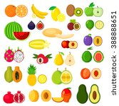 banana and kiwi  orange and... | Shutterstock .eps vector #388888651