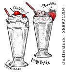 milkshakes with strawberry and... | Shutterstock .eps vector #388921204