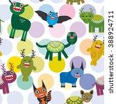 cute cartoon monsters set. ... | Shutterstock . vector #388924711