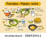 recipe for homemade pancakes.... | Shutterstock .eps vector #388930411
