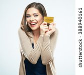Small photo of Happy woman hold credit card. White background isolated.