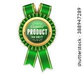 gold genuine product rosette ... | Shutterstock .eps vector #388947289
