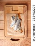 Small photo of Pickled herring. Salted, soused skinless fillets of fish Clupea.