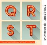 vintage light bulb sign letters ... | Shutterstock .eps vector #388964011