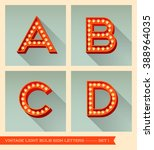 vintage light bulb sign letters ... | Shutterstock .eps vector #388964035