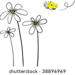 Daisies With Butterfly Vector...