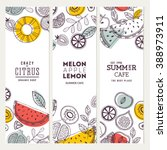 fruit banner collection. summer ... | Shutterstock .eps vector #388973911