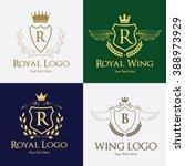 luxury  wing logo  angel logo ... | Shutterstock .eps vector #388973929