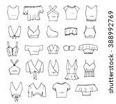 hand drawn vector clothing set. ... | Shutterstock .eps vector #388992769