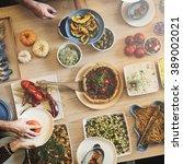 friends party buffet enjoying... | Shutterstock . vector #389002021