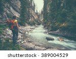 girl hiking into johnston...   Shutterstock . vector #389004529