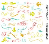 set of hand drawn swirls.... | Shutterstock .eps vector #389022259