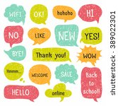 set of hand drawn speech and...   Shutterstock .eps vector #389022301