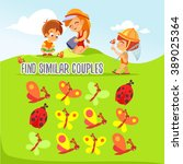 match up game for preschool... | Shutterstock .eps vector #389025364