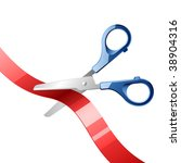 scissors cutting red ribbon.... | Shutterstock .eps vector #38904316