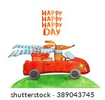 dog with gifts in car. happy.... | Shutterstock . vector #389043745