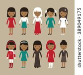 set of african american women | Shutterstock .eps vector #389049175