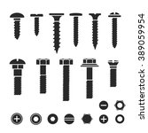 silhouettes of wall bolts  nuts ... | Shutterstock .eps vector #389059954