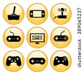 video games icons gold button... | Shutterstock .eps vector #389065237