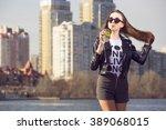 girl fashion model hipster... | Shutterstock . vector #389068015