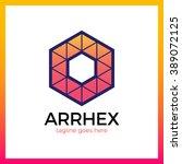hexagon triangle arrow logo.... | Shutterstock .eps vector #389072125