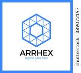 hexagon triangle arrow logo.... | Shutterstock .eps vector #389072197