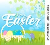 happy easter card illustration... | Shutterstock .eps vector #389081581