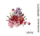 bouquet of peonies  watercolor  ... | Shutterstock . vector #389082571