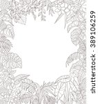 Contoured leaves and flowers on white background. Floral rectangle frame of outline tropical plants with space for text. Floral elements for coloring.