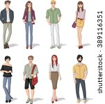 group of fashion cartoon young... | Shutterstock .eps vector #389116351