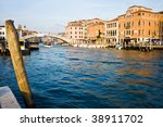 Famous Grand Canal and typical venetian architecture near the Venice Train Station - stock photo
