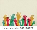 diversity people group raising... | Shutterstock .eps vector #389120929
