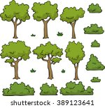 cartoon doodle set trees and... | Shutterstock . vector #389123641