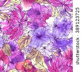 floral pattern with flowers and ... | Shutterstock . vector #389123725