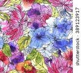 seamless floral pattern. flower ... | Shutterstock . vector #389123917