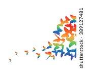 vector flying butterflies with... | Shutterstock .eps vector #389127481