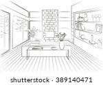 interior living room with large ... | Shutterstock .eps vector #389140471
