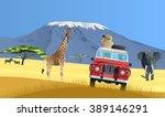 safari truck in african savannah | Shutterstock .eps vector #389146291