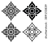 thai folk art pattern   flower... | Shutterstock .eps vector #389153839