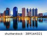 reflection buildings  in... | Shutterstock . vector #389164321