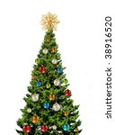 green christmas tree with... | Shutterstock . vector #38916520