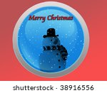 Snowman on blue  background, merry Christmas - stock photo