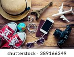 tourism planning and equipment... | Shutterstock . vector #389166349