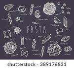hard drawing pasta set on... | Shutterstock .eps vector #389176831